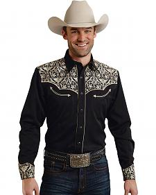 Roper Old West Collection Black Embroidered Vintage Long Sleeve Western Shirt