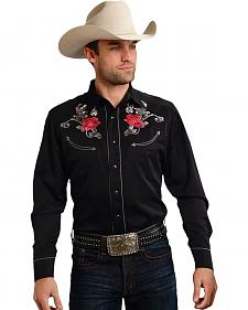 Roper Old West Collection Black Embroidered Rose Long Sleeve Western Shirt
