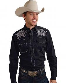 Roper Old West Collection Black Embroidered Long Sleeve Western Shirt