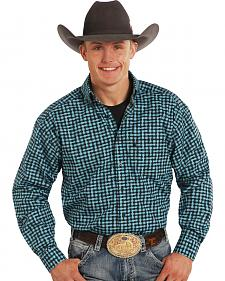 Tuf Cooper Performance Black and Turquoise Long Sleeve Shirt