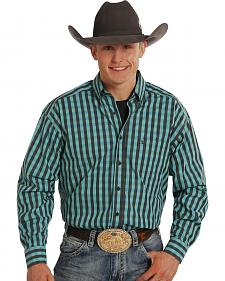 Tuf Cooper Performance Black and Turquoise Check Long Sleeve Shirt