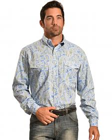 Roper Men's Amarillo Collection Blue Paisley Shirt
