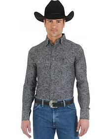 Wrangler George Strait Troubadour Paisley Grey Western Shirt