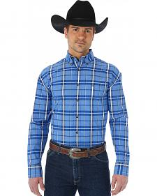 Wrangler George Strait Blue Plaid Print Contrast Trim Western Shirt