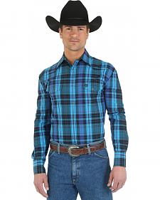 Wrangler George Strait Two Pocket Blue Plaid Western Shirt