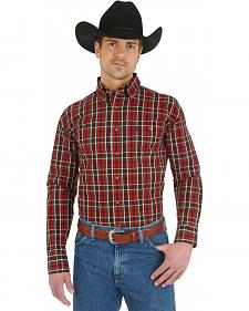 Wrangler George Strait Chestnut Plaid with Paisley Trim Western Shirt