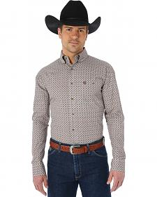 Wrangler George Strait Chestnut and Red Print Western Shirt