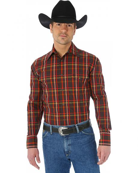 Wrangler George Strait Two Pocket Chestnut and Red Plaid Western Shirt