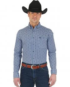 Wrangler George Strait Navy and Light Blue Print Western Shirt