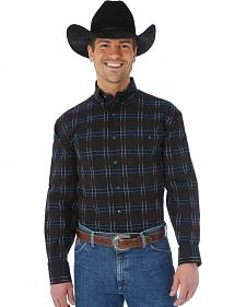 Wrangler George Strait Burgundy and Black Plaid Western Shirt