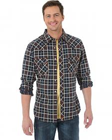Wrangler 20X Black and Brown Plaid Western Shirt