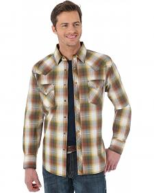 Wrangler 20X Brown and Rust Plaid Western Shirt