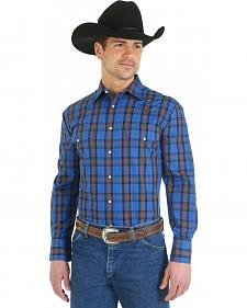 Wrangler Wrinkle Resist Blue and Grey Plaid Western Shirt
