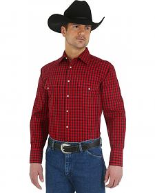 Wrangler Wrinkle Resist Red and Black Plaid Western Shirt