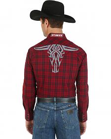 Wrangler Red and Black Plaid PBR Logo Western Shirt
