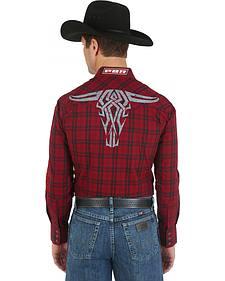 Wrangler Red and Black Plaid PBR Logo Western Shirt