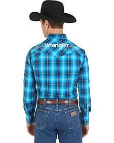 Wrangler Blue Plaid Logo Western Shirt