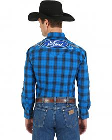 Wrangler Blue Plaid Ford Logo Western Shirt