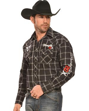 Wrangler Black and White Plaid 20X Logo Long Sleeve Shirt