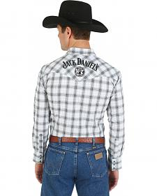 Wrangler White and Grey Jack Daniel's Logo Western Shirt