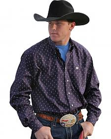 Cinch Men's Purple Print Button Long Sleeve Shirt