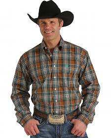 Cinch Men's Brown Plaid Button Long Sleeve Shirt