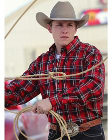 Cinch Red, Black, and Teal Plaid Long Sleeve Shirt