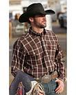 Cinch Brown Plaid Double Pocket Long Sleeve Shirt