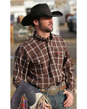 Cinch Brown Plaid Double Pocket Long Sleeve Shirt