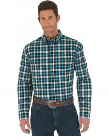 Wrangler Advanced Comfort Black and Blue Plaid Western Shirt