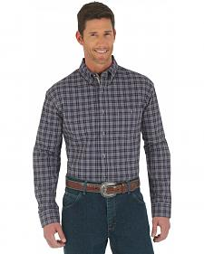 Wrangler Advanced Comfort Dark Plum Plaid Western Shirt