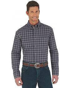 Wrangler Advanced Comfort Dark Plum Plaid Western Shirt