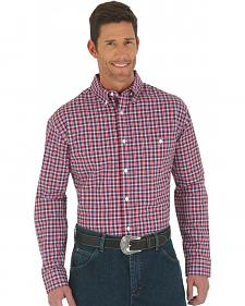 Wrangler Advanced Comfort Red, White, and Blue Plaid Western Shirt