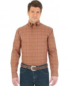 Wrangler Advanced Comfort Brown and Orange Plaid Western Shirt