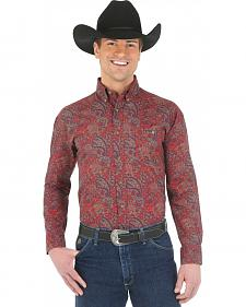 Wrangler George Strait Chestnut Paisley Western Shirt
