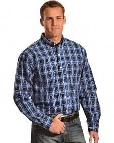 Gibson Trading Co. Men's Black & Blue Check Western Shirt