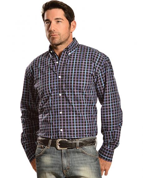 Gibson Trading Co. Long Sleeve Black, Blue, and Purple Check Shirt