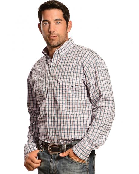 Gibson Trading Co. Men's Red, White and Grey Plaid Western Shirt