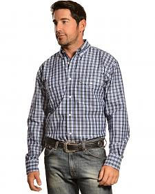 Gibson Trading Co. Navy and Grey Plaid Long Sleeve Shirt