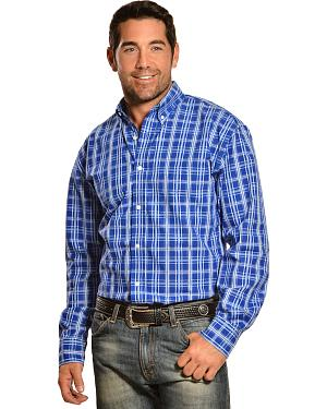 Gibson Trading Co. Blue and White Plaid Long Sleeve Shirt