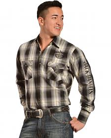 Jack Daniel's Men's Black & White Plaid Western Shirt