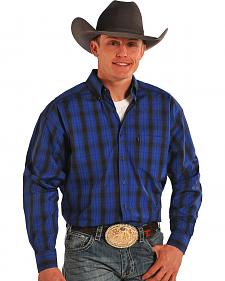 Tuf Cooper Performance Blue Plaid Western Shirt