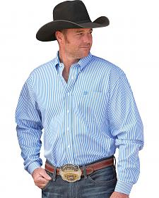 Cinch Men's Blue & White Ticking Stripe Button Long Sleeve Shirt