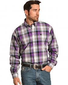Cinch Men's Purple Plaid Button Long Sleeve Shirt