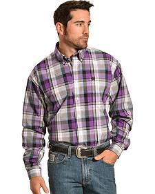 Cinch Men's Purple Plaid Button Long Sleeve Shirt