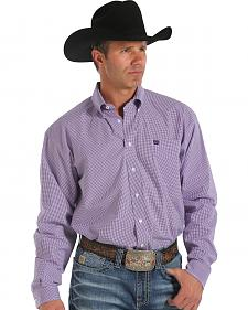Cinch Men's Small Purple Check Button Long Sleeve Shirt