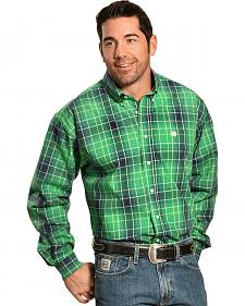Cinch Men's Green Plaid Button Long Sleeve Shirt