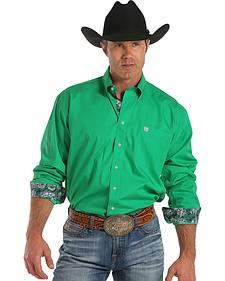Cinch Men's Solid Green Contrast Cuffs Button Long Sleeve Shirt