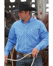 Cinch Men's Royal Blue Geo Print Button Long Sleeve Shirt