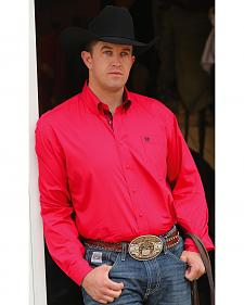 Cinch Men's Solid Pink Contrast Cuffs Button Long Sleeve Shirt
